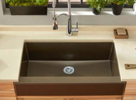 completed elkay quartz luxe farmhouse sink install