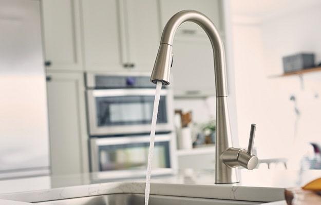 moen sleek pulldown kitchen faucet installed