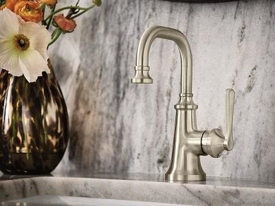moen colinet single handle bathroom faucet installed