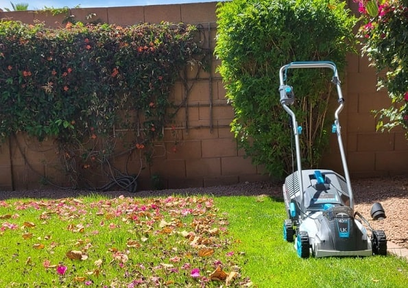 mowing the lawn with swift mower