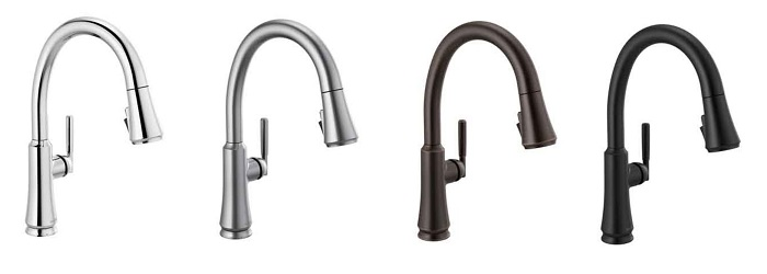 all four finishes for 9179-dst kitchen faucets from the coranto collection